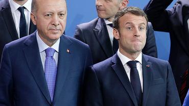 Prezydent Turcji Turcji Recep Tayyip Erdogan i prezydent Francji Emmanuel Macron.