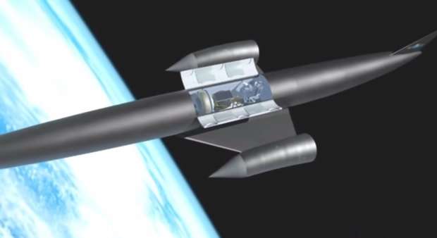 Samolot Skylon z otwartą ładownią na orbicie