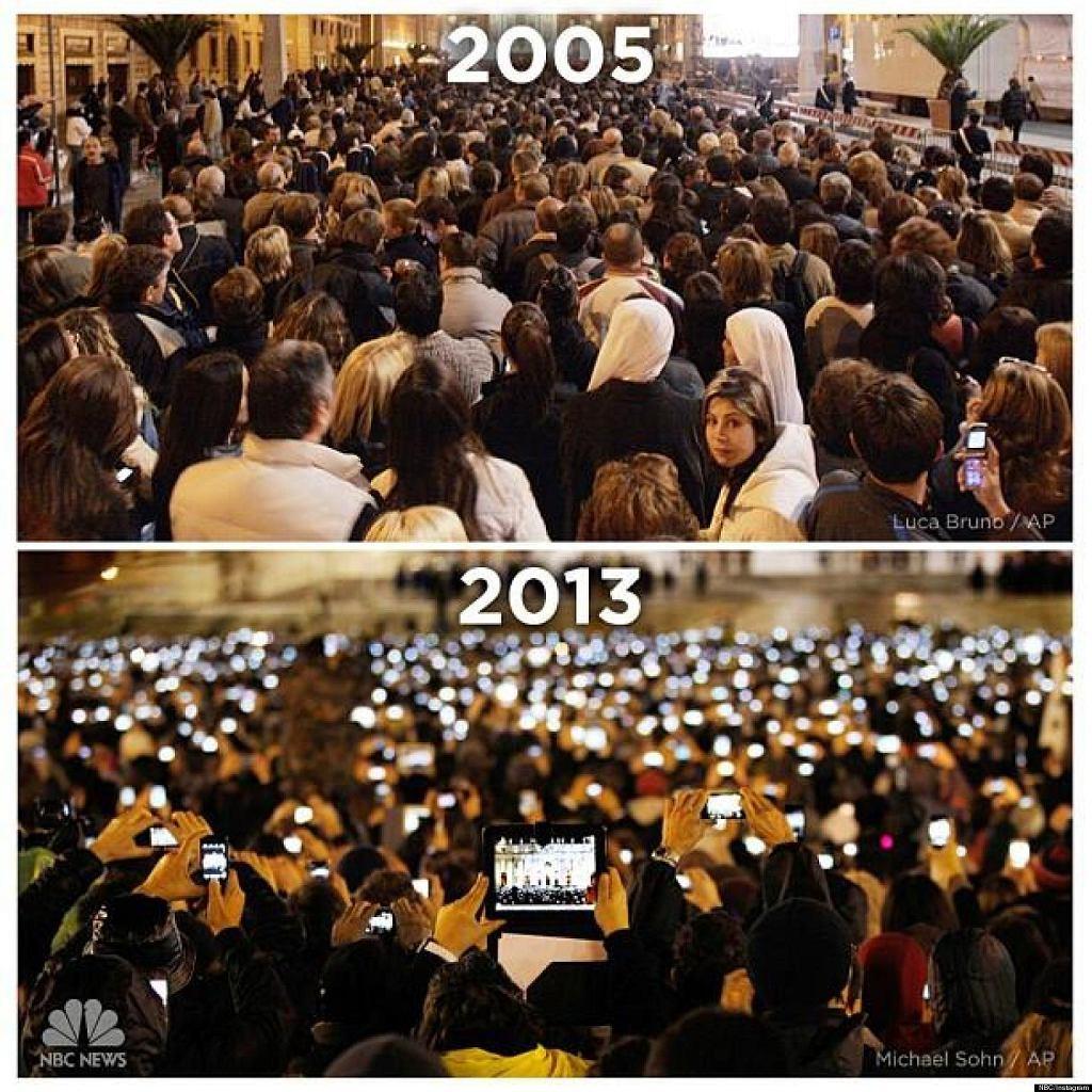 Plac świętego Piotra w 2005 i 2013 roku. Wskaż 3 różnice