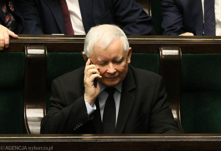 Jarosław Kaczyński w Sejmie, już po ujawnieniu nagrań przez 'Gazetę Wybroczą'