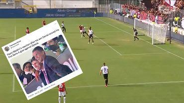 Daniel Maldini strzela swojego pierwszego gola w barwach AC Milan. Ojciec - Paolo Maldini - świętuje trafienie syna. Źródło: TWitter
