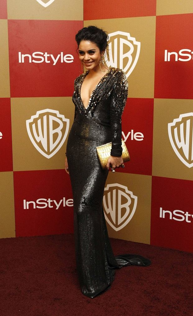 Actress Vanessa Hudgens poses at the InStyle/Warner Bros. after party following the 70th annual Golden Globe Awards in Beverly Hills, California January 13, 2013. REUTERS/Mario Anzuoni  (UNITED STATES - Tags: ENTERTAINMENT) (GOLDENGLOBES-PARTIES)