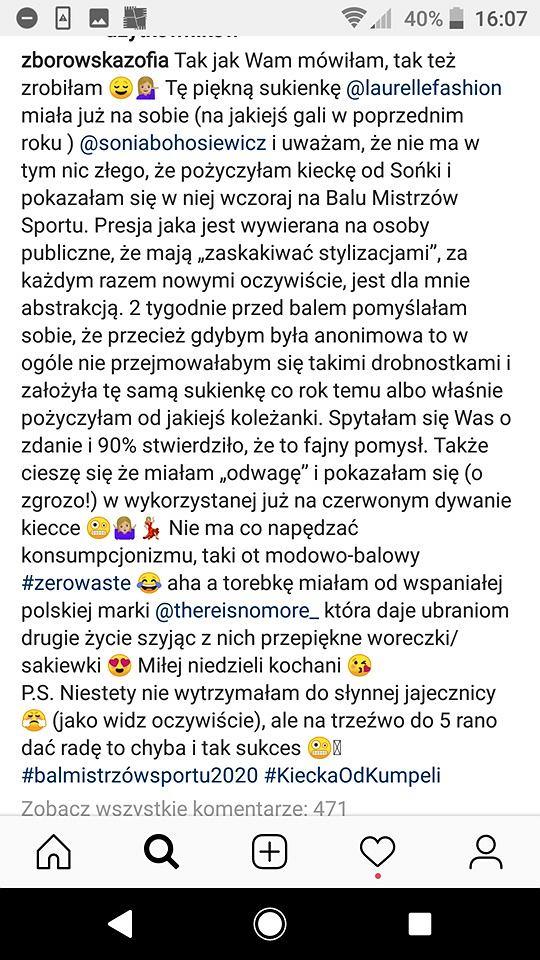 Zosia Zborowska na Instagramie