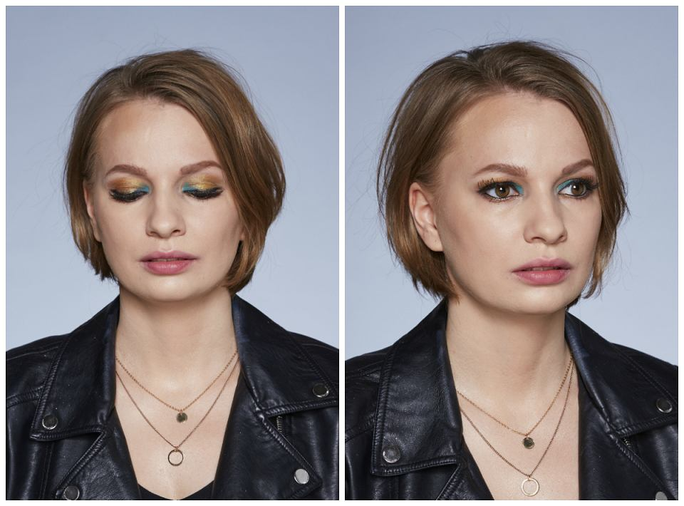 Połączenie złota i niebieskiego było inspirowane makijażami z pokazu Versace. Kolorowe akcenty były bardzo modne w tamtym roku!