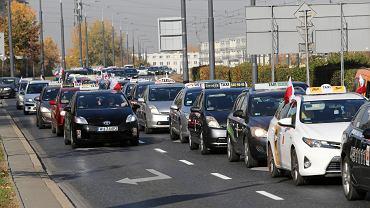 Protest taksówkarzy w Warszawie, 18 października 2018.