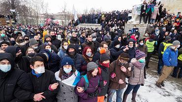 Przez kraj przetoczyła się fala protestów przeciwko prześladowaniu Aleksieja Nawalnego, Petersburg, 31 stycznia 2021 r.