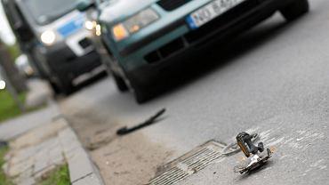 2Potracenie rowerzysty na ul. Dworcowej w Olsztynie