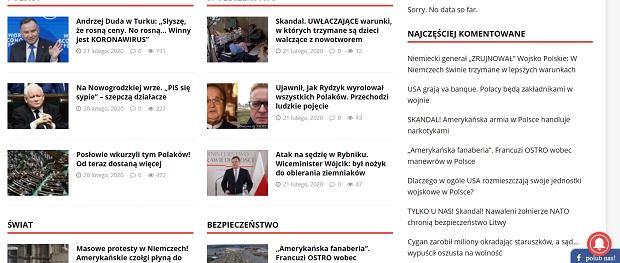 'Najczęściej komentowane' teksty na stronie Niezależnego Dziennika Politycznego. Już po tytułach widać, jakiego rodzaju to treści