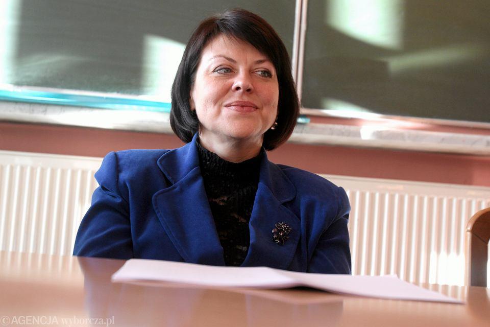 Andżelika Borys podczas wykładu i spotkania na Wydziale Politologii UMCS w Lublinie, 2013.