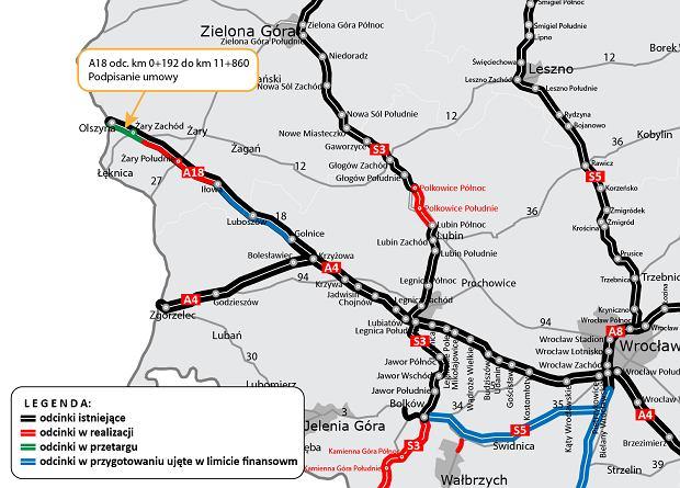 Przebudowa drogi krajowej nr 18, autostrada A18