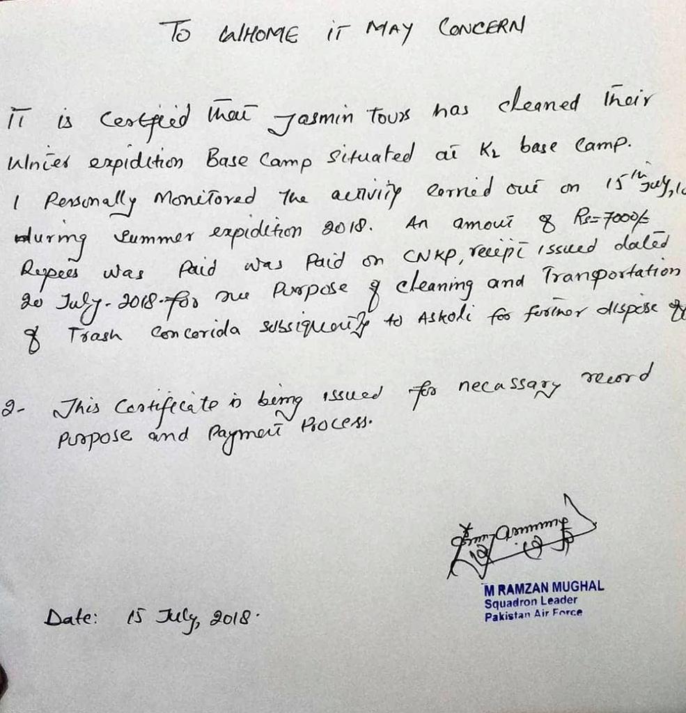 Dokument wystawiony przez oficera łącznikowego Ramzana Mughala