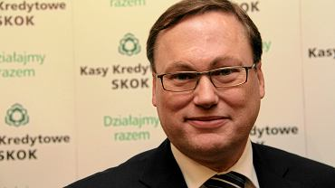 Grzegorz Bierecki ponad 20 lat rządził w Kasie Krajowej SKOK. Na zdjęciu: podczas konferencji prasowej w Warszawie, 12 stycznia 2012 r.