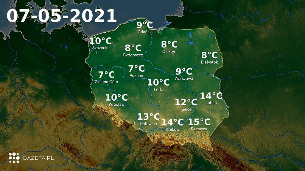 Pogoda na dziś - piątek, 7 maja. Pochmurnie. Najcieplej będzie na południowym wschodzie Polski