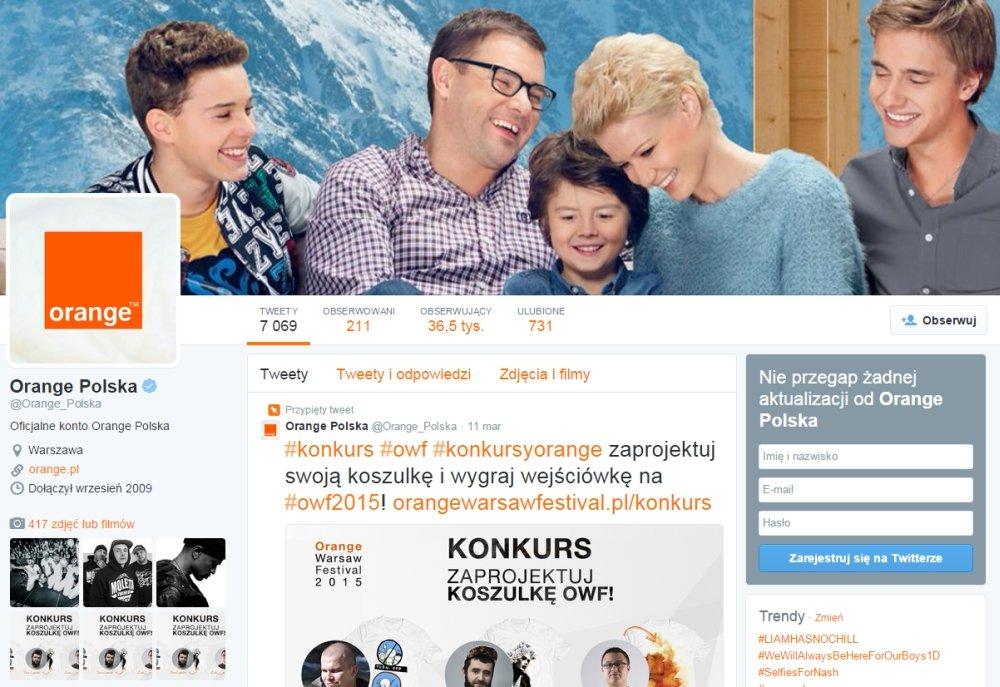 Profil sieci Orange na Twitterze