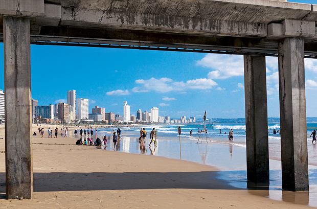 PRA, plaża w Durbanie w marcu, widok spod mola Vetch
