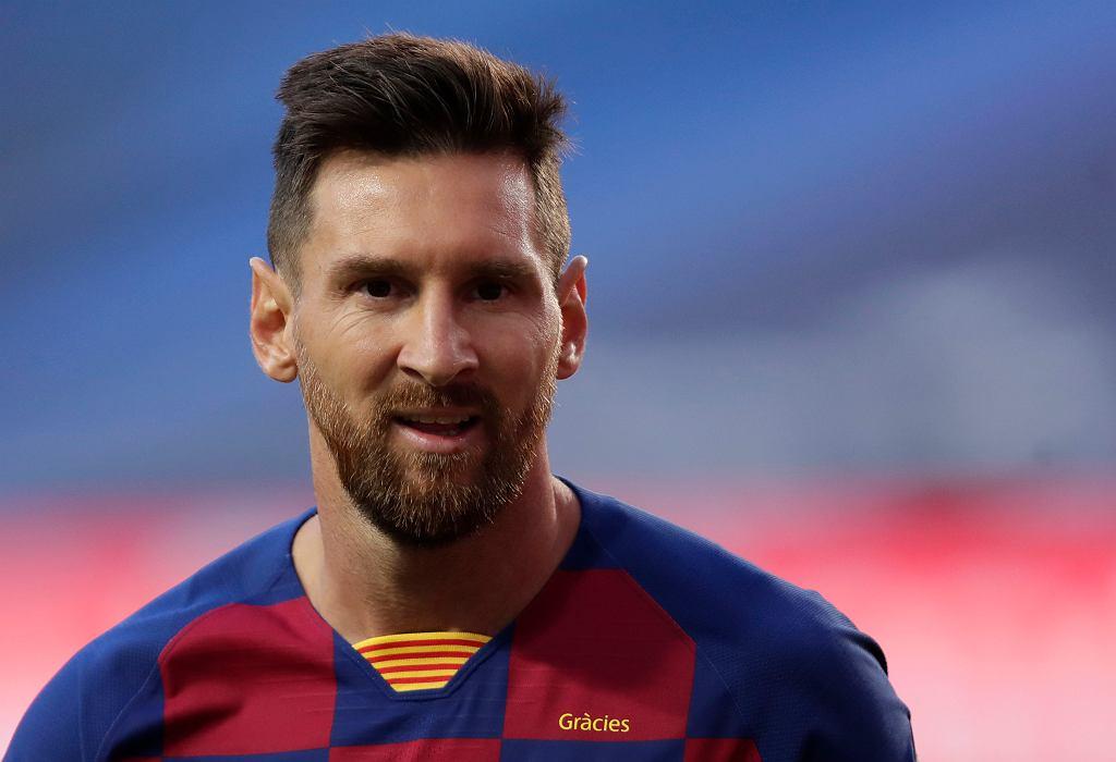Lionel Messi podczas ćwierćfinału Ligi Mistrzów: FC Barcelona - Bayern Monachium. Lizbona, Portugalia, 14 sierpnia 2020