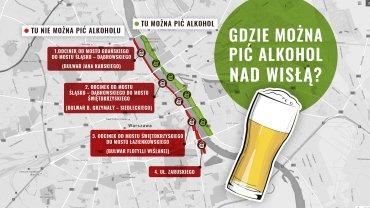 Gdzie wolno pić nad Wisłą alkohol? Sprawdź na naszej mapie.