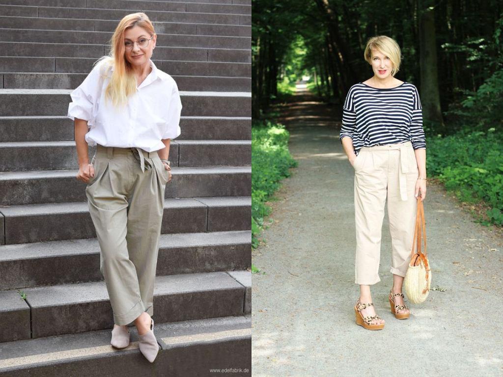 Spodnie wiązane w talii dla kobiet po 50-tce