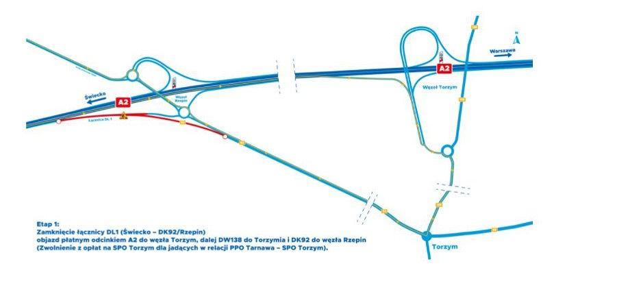 Remonty i objazdy na autostradzie A2 w rejonie Rzepina, sierpień 2021 r.