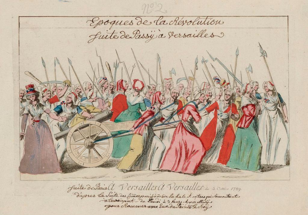 Współczesna ilustracja przedstawiająca marsz kobiet na Wersal 5 października 1789 r. / Ze zbiorów Gallica Digital Library Wikimedia Commons/domena publiczna