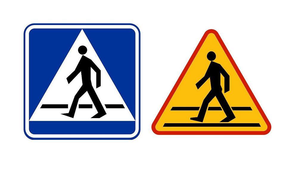 Znaki informujące o przejściu dla pieszych