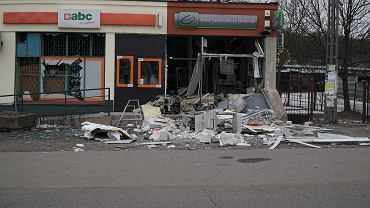 Bank w Grzebienisku po eksplozji ładunku wybuchowego
