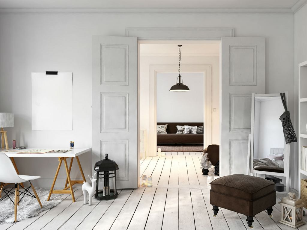 mieszkanie w stylu skandynawskim biel i drewno