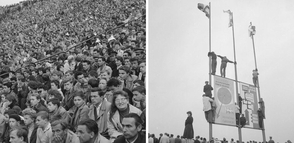 Widzowie na Stadionie Dziesięciolecia Manifestu Lipcowego / Mężczyźni stojący na konstrukcji z reklamą 'Spółdzielczych Zegarmistrzowskich Punktów Usługowych', maj 1961 r. (fot. Zbyszek Siemaszko / NAC / 51-448-23 / 51-448-26)
