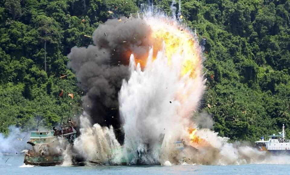qFour of eight confiscated Vietnamese fishing boats are destroyed in Mempawah Regency, West Kalimantan, Indonesia