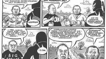 Sceny z komiksu 'Likwidator kontra Dobra Zmiana' Ryszarda Dąbrowskiego