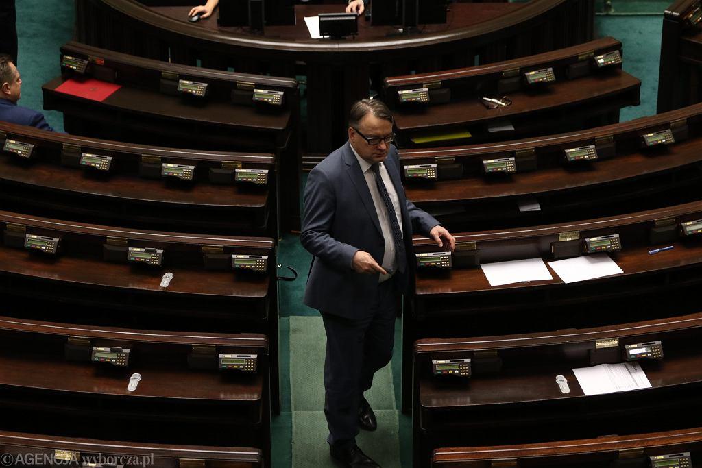 Wykluczony poseł PO Marek Biernacki. Pierwsze posiedzenie Sejmu VIII Kadencji, Warszawa, 19 listopada 2015