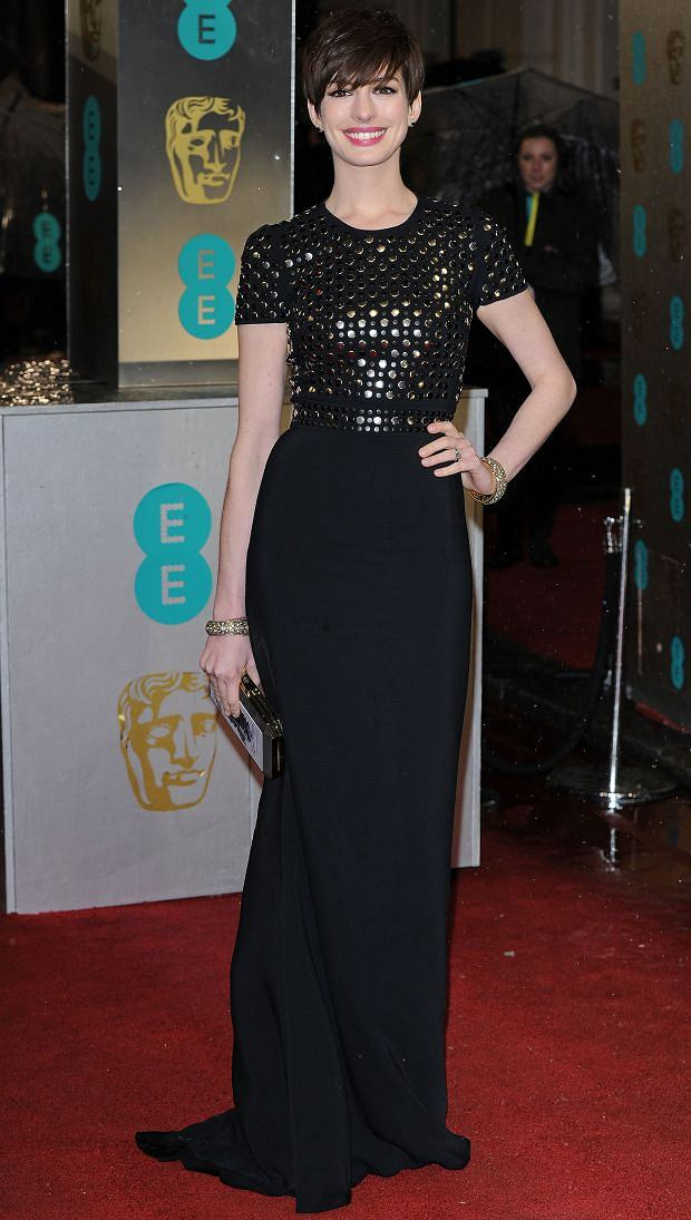 Anne Hathaway attending the EE BAFTAs at The Royal Opera House, Covent Garden, London, on Sunday February 10, 2013.
