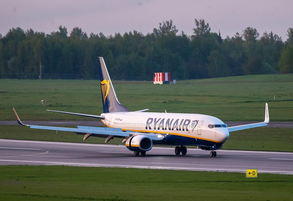 Mińsk. Samolot Ryanaira, którym leciał Roman Protasewicz, dziennikarz i aktywista