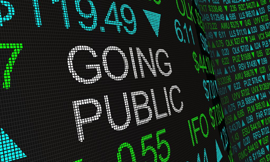 >Going,Public,Stock,Market,Initial,Offering,Ipo,3d,Illustration