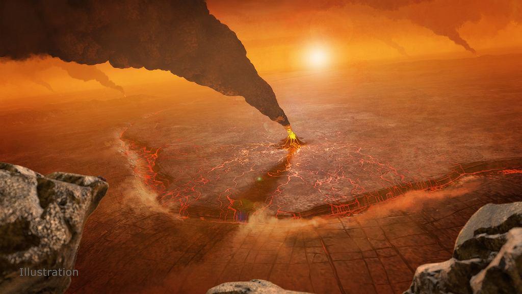 Aktywny wulkan na Wenus - wizja artysty