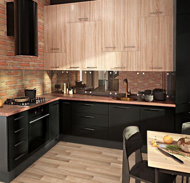 Ciemne i drewniane fronty kuchenne