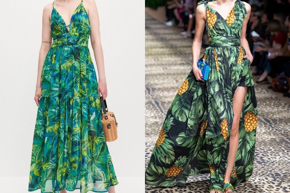 Sukienka w tropikalny wzór z Reserved jest niemal identyczna jak ta z najnowszej kolekcji Dolce & Gabbana