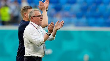 Trener Szwecji Janne Andersson podczas meczu ze Słowacją.