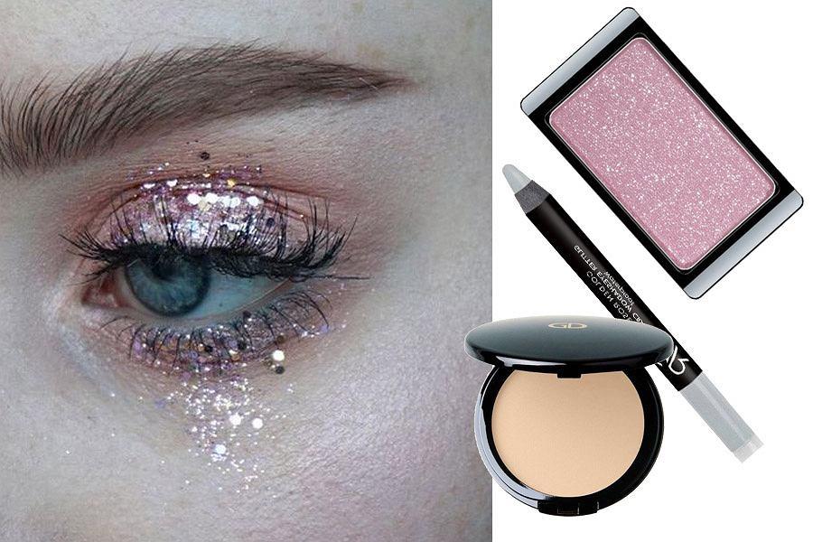 makijaż na sylwestra z brokatem