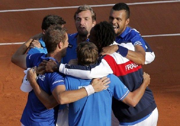 Francuzi cieszą się z awansu do finału Pucharu Davisa, wrzesień 2014