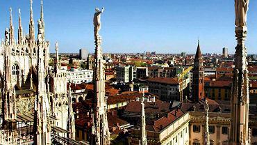 Mediolan - panorama miasta z dachu Duomo