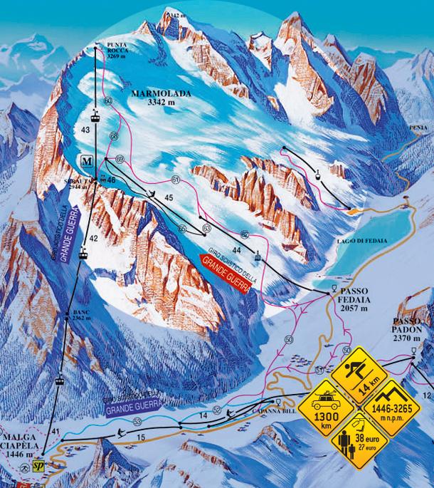 Narty w Alpach. Marmolada - Włochy