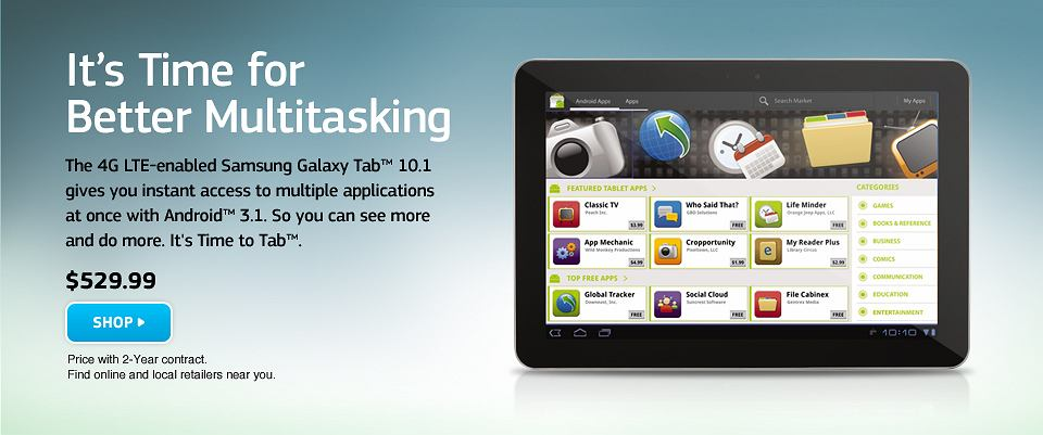 Tablet obsługujący technologię LTE - Galaxy Tab 10.1