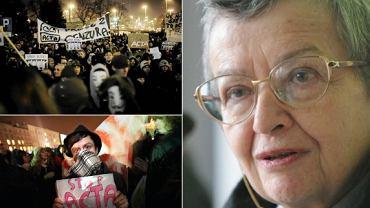 Protesty przeciw ACTA; po prawej Halina Bortnowska