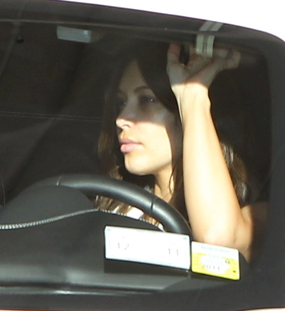 Kim Kardashian leaves the gym in her white Ferrari,  wearing no make up. January 31, 2012 X17online.com  *** Local Caption ***  Kim Kardashian