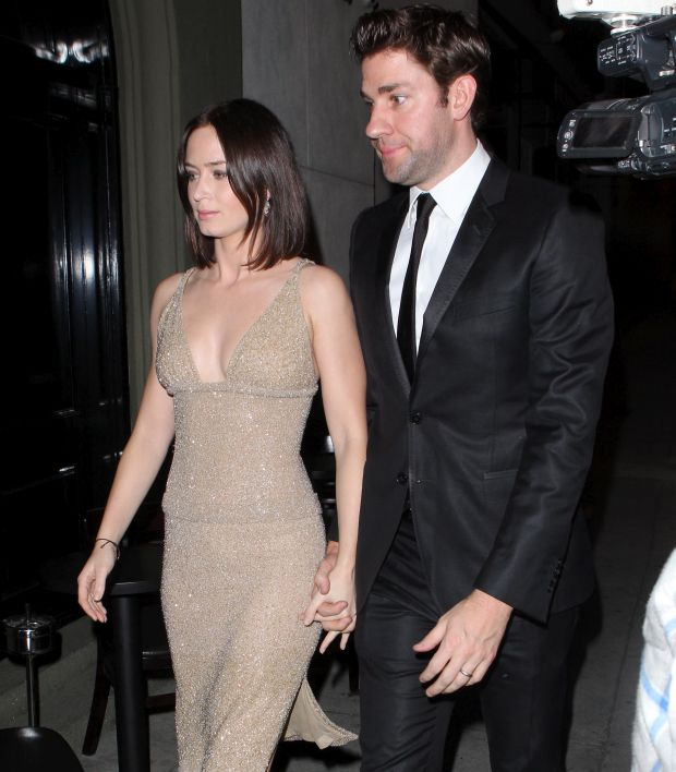 John Krasinski and Emily Blunt at Craig's Restaurant for George Clooney's Oscars after party. Febuary 26, 2012. X17online.com *** Local Caption ***  John Krasinski and Emily Blunt