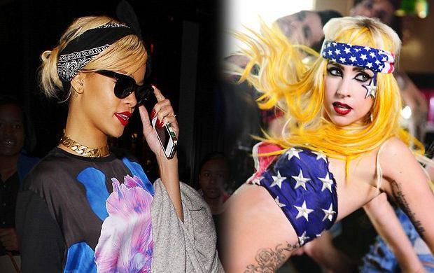 Rihanna i Lady Gaga z chustą na głowie