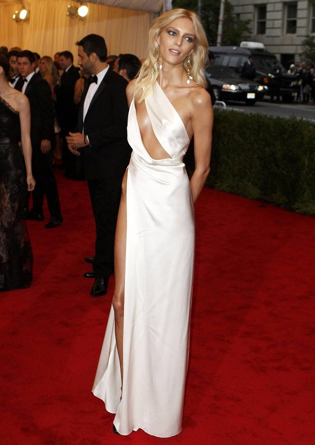 Model Anja Rubik of Poland arrives at the Metropolitan Museum of Art Costume Institute Benefit celebrating the opening of the