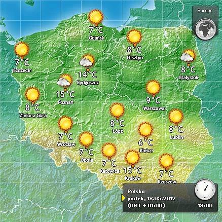 Prognoza pogody na piątek, 18 maja, w pierwszy dzień weekendu Polska Biega 2012, pogoda.gazeta.pl
