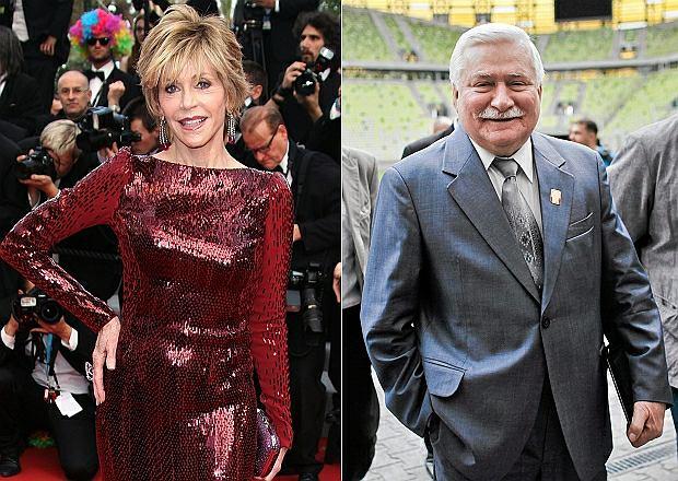 Jane Fonda i Lech Wałęsa